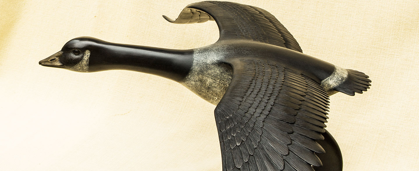 Canada Goose in Flight bronze sculpture