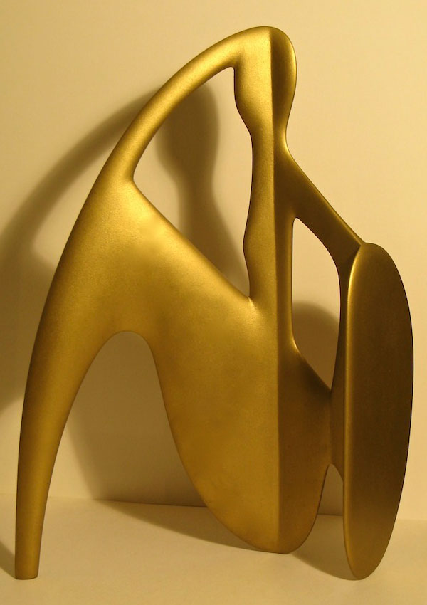 planar figure 3 - modernist figurative wood sculpture