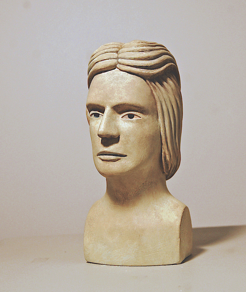youths head polychromed plaster-sculpture by donald perdue 2019