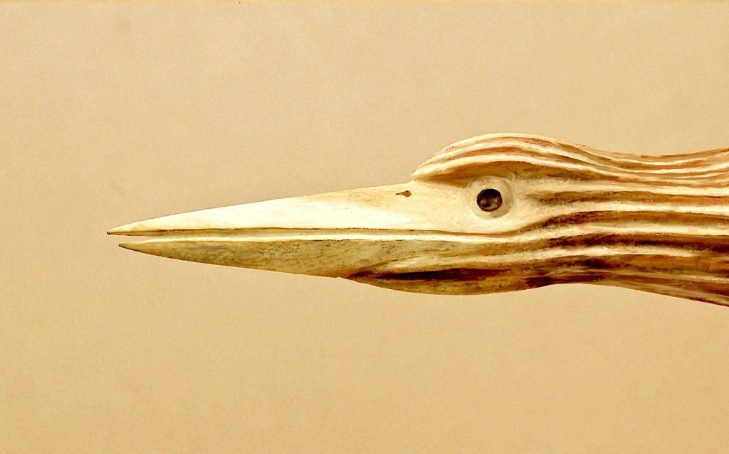Heronesque Study 2 wood carving closeup